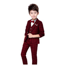 Boys Blazers Kids Boy Suits for Weddings Prom Suits Formal Dress Kids Tuxedo <strong>Children</strong> Clothing <strong>Set</strong> (Jacket+Pants+Vest)
