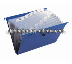 A4 size 13 pockets Plastic expanding file folder with hanger from Eco Friendly PP material