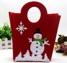 DM 650 Wholesale high quality red shopping handbag candy tote santa snowman gift bag christmas