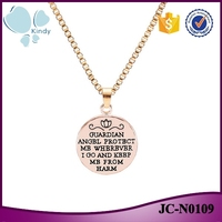 2016 hot sale zinc alloy silver and gold color angel protect necklace with letters