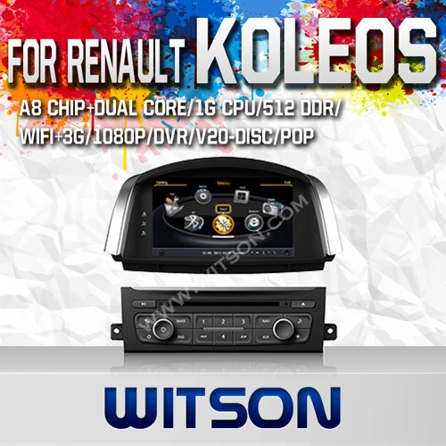 WITSON FOR RENAULT KOLEOS 2014 HIGH QUALITY CAR DVD WITH 1.6GHZ FREQUENCY DVR SUPPORT WIFI STEERING WHEEL