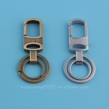 metal double rings split key chain with a snap hook made in china