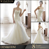 OEM factory Strapless turquoise wedding dress