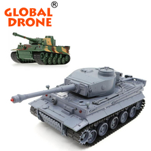 2018 Global Drone Henglong tank 3828-1 German Tiger Panzer 27MHz 1:26 Metal Tank Track with Simulated Sound RC Battle Tank toys
