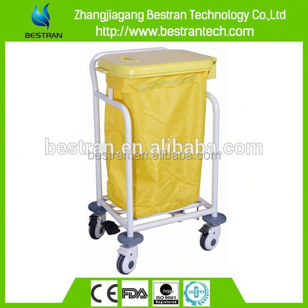 BT-SLT009 with Single bin foot pedal control steel material medical garbage cart
