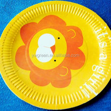 promotional paper plate/ sugarcane resistant disposable paper plate/ printable paper plate Green paper