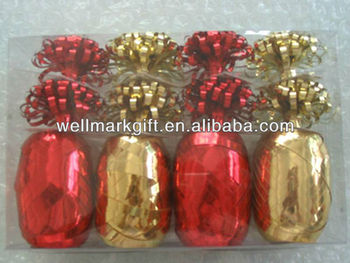 Gold Red Metallic Poly Gift Curling Ribbon Bow Pack