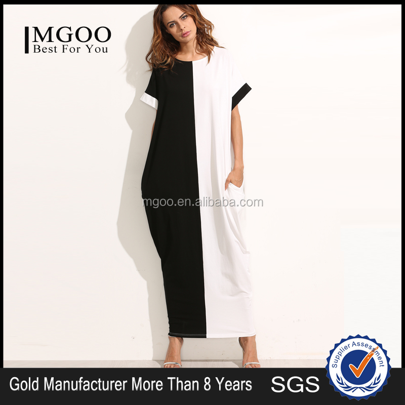 Colorblock Pocket Short Sleeve Maxi Dress 100% Cotton Two Color Contrast Sewing Casual Tee Dress