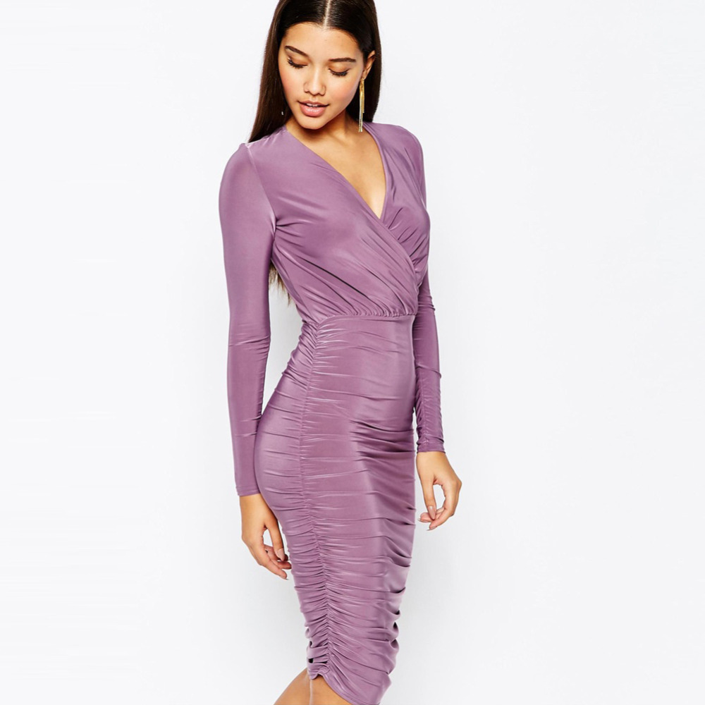 Purple Deep V-neck Draped Bodycon Dress Long Sleeve Ruched Cocktail Dress