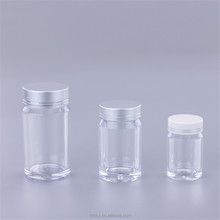 50ml 80ml 150ml ps plastic bottle capsule container, plastic pill bottle with silver cap