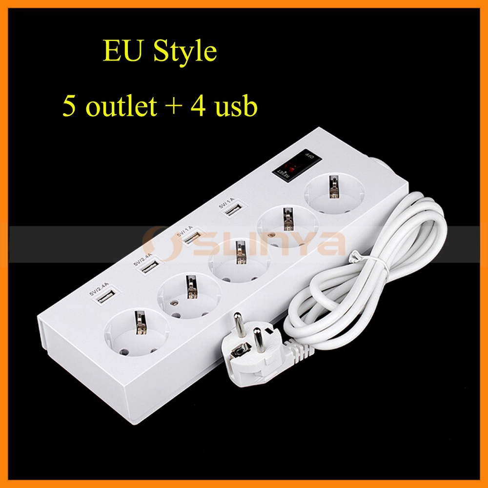Four Port Fast Charging 2500W 5 Outlet 4 USB EU Extension Power Strip