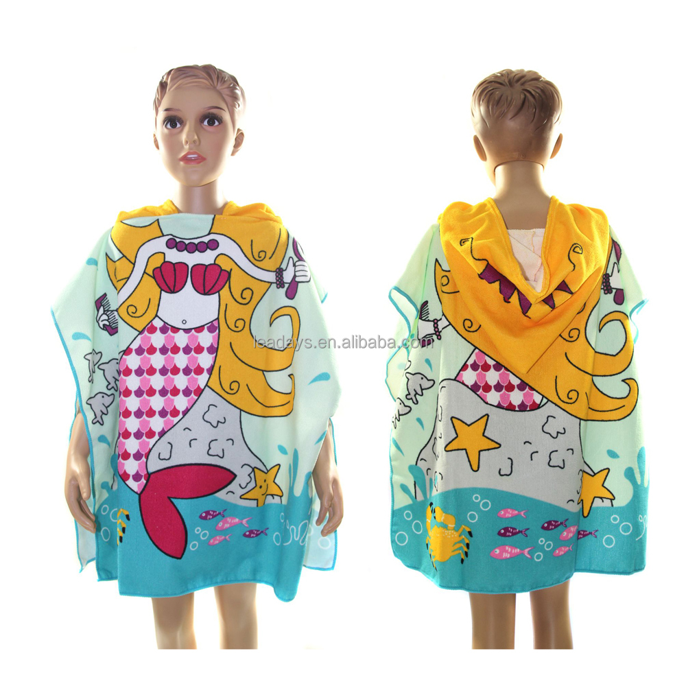 New Arrival Microfiber Textile Kids Hooded Cartoon Printing Beach Towel