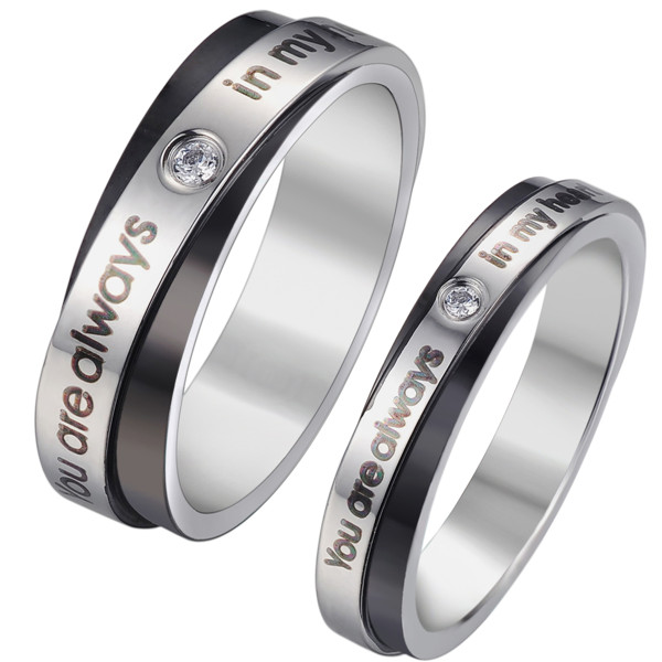 "Fashion Silver Tone Black Message "" You Are Always In My Heart "" Clear Rhinestone 316L Stainless Steel Unadjustable Men's Rings"