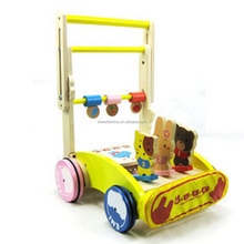 Education walker toy for baby,Funny baby walker trolley with drum playing,Best sale wooden baby walker trolley toy