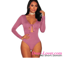 Latest Design Sexy Pink Tie Knot V Neck Long Sleeve Women Bodysuit Top