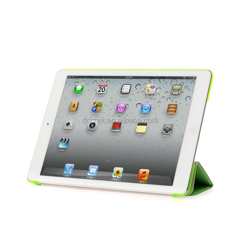 Hot selling standing custom PC base PU cover hard shell cover case for ipad air case for ipad mini case Green