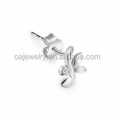 Simple design small earrings shiny polish CZ inlaid silver earrings