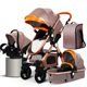 3 in 1 High Landscape Leather Baby Stroller 3 in 1/good quality baby stroller walker