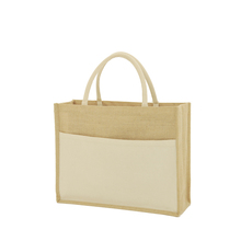 2015 fashion jute tote bag with cotton pocket