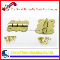 2pc Small Butterfly Style Brass Plated Box Hinges