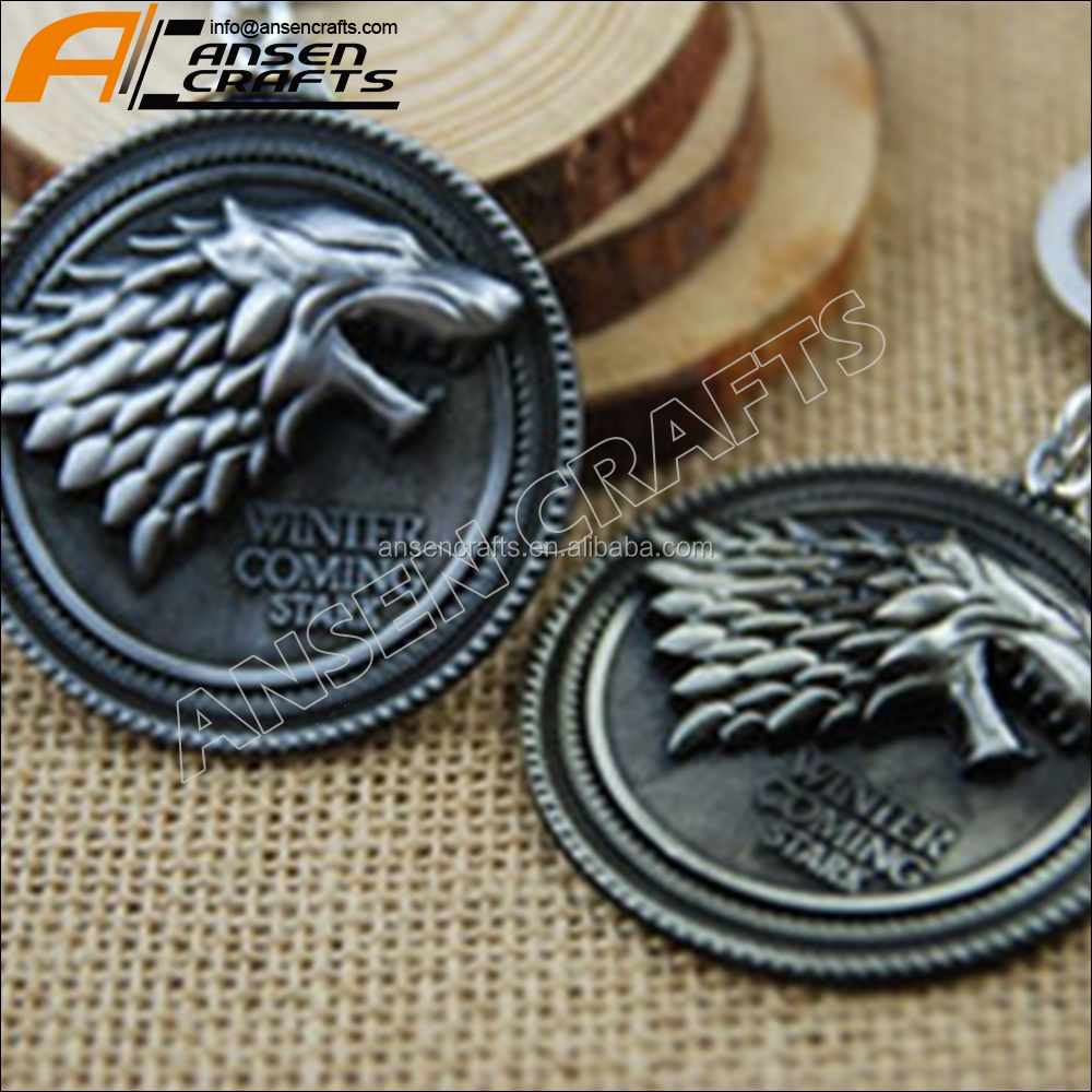 Silver HBO Game of Thrones House Stark Head Pendant Metal Keyring Keychain hot