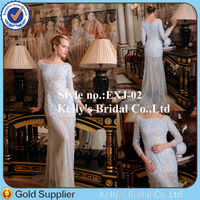 baby blue dress plus size heavy handcrafted beaded scoop neckline long sleeves evening dress 2014