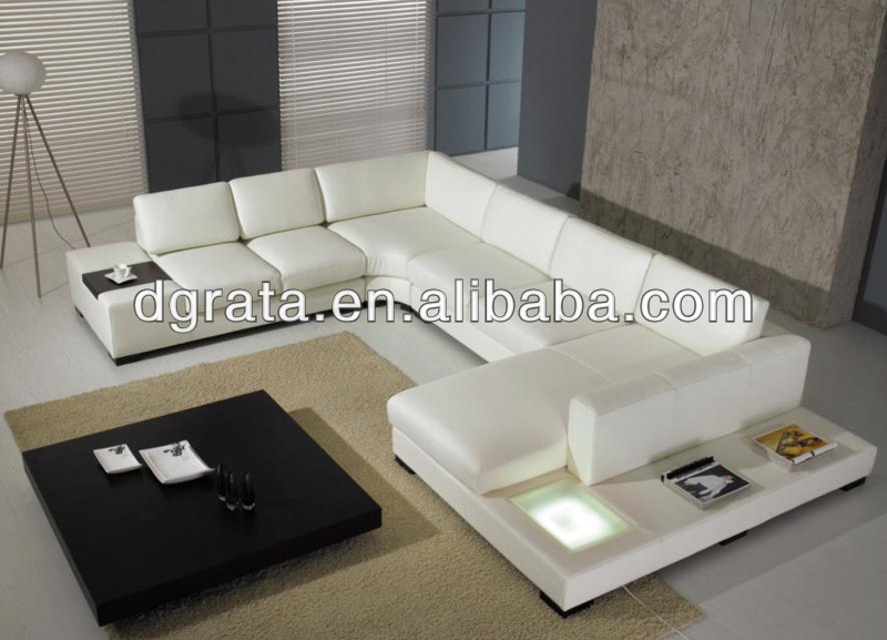 2016 shallow LED leather sofa was made of solid wood frame and high density sponge and genuine leather in white color