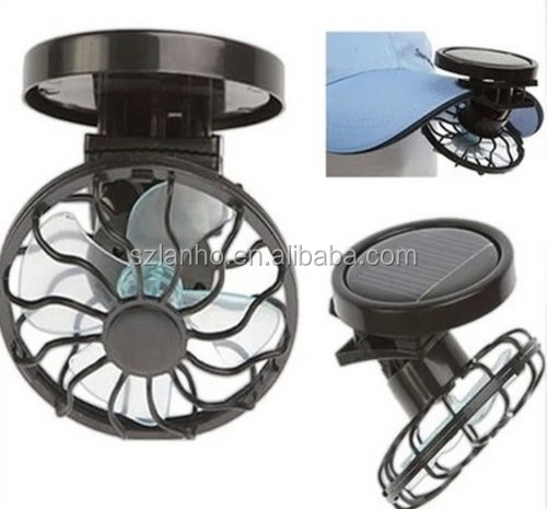 Mini Outdoor Camping Fan cap Clip-on Solar Cell Fan