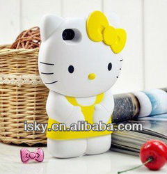 Hot-selling On Sale Cute Cartoon Silicone 3d hello kitty Case/cover/protector for iPhone 4 4S Fits All Models of Iphone 4 & 4s