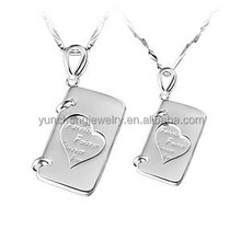 YCP7025 pretty note book shape silver pendant