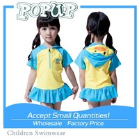 Perfect Design Lovely Penguins Blue Yellow Short Sleeve Swimsuit for Young Girls