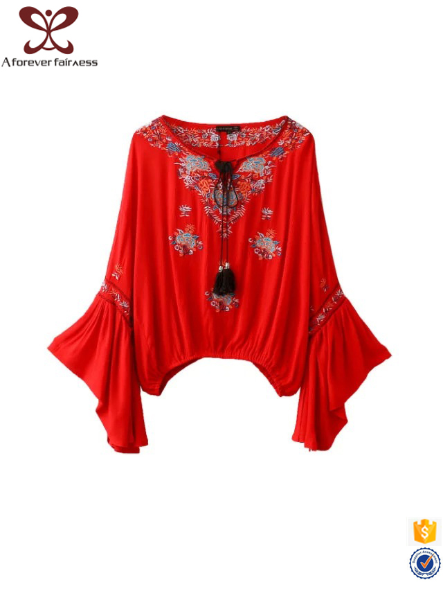 Embroidery Pagoda Sleeve Casual Designs For Fat Ladies Muslimah Muslim Blouse