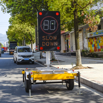 New model digital led radar activates speed limit sign with trailer