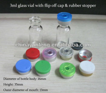 3ml clear glass vials with flip off caps and rubber stoppers