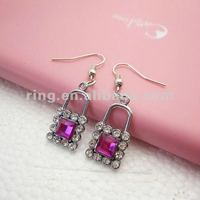 2012 New Style Lock Shape rose Crystal Rhinestone Earrings for girls