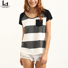 Custom high quality curved hem plain womens bulk striped t shirts