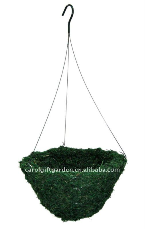 Green Moss hanging basket - Green moss flower planter