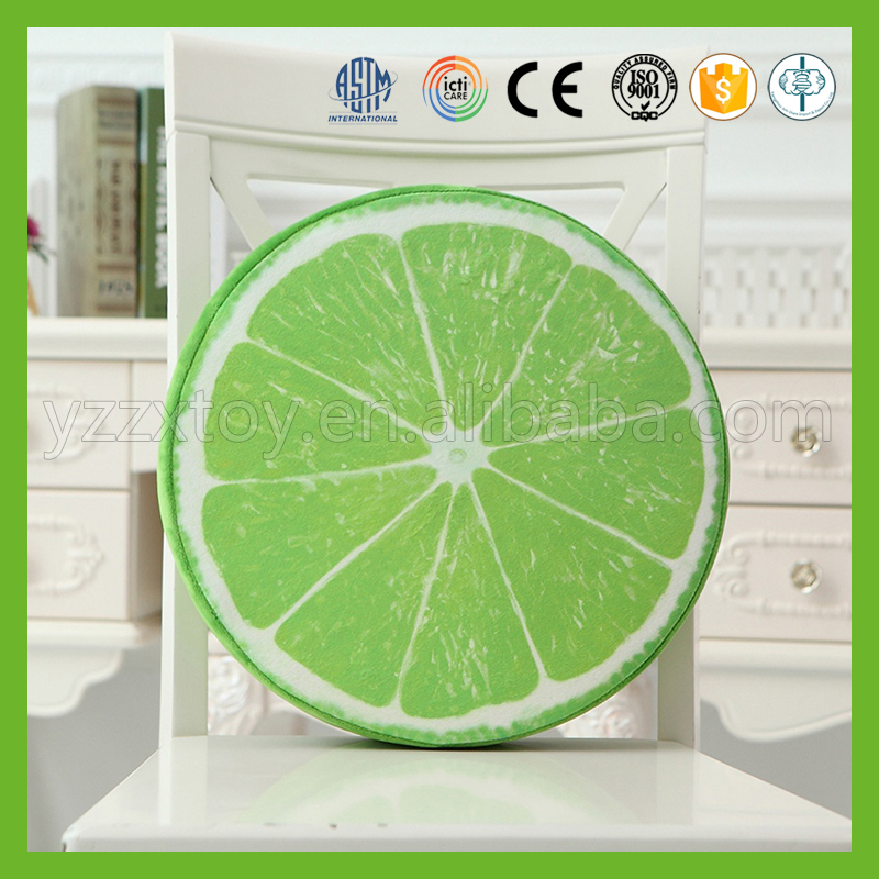 Wholesale colorful round printed lemon fruit chair pad cushion