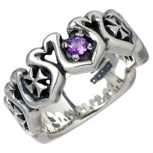 Stainless Steel Amethyst Ring