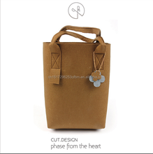 Wholesale fashion felt handbag felt leisure tote bag with leather handle strap