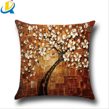 New design tree and flower style 45*45cm cartoon custom printed pillow cases