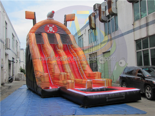 Amusement park inflatable pirate ship water slide with water pool, kids inflatable double lane water slide, giant children slide