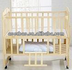 Solid Pine Fashion Baby Bed With Cradle Misquito Net
