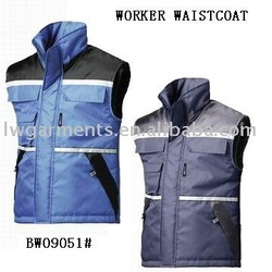 WINTER PADDED BODY WARMER VEST WITH REFLECTIVE TAPE