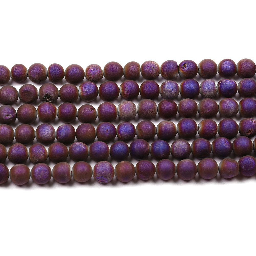 Fashion Purple Metallic Coated Agate Stone Beads Natural Loose Gemstone Beads For Sale