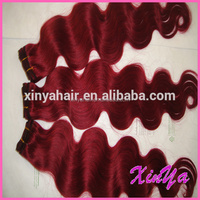 Hot selling Beauty Red Color 100% virgin human hair body wave red color indian remy human hair weaving