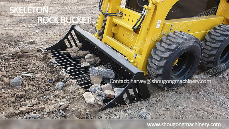 Skeleton Rock Bucket with Grapple Fork for Skid Steer Loader