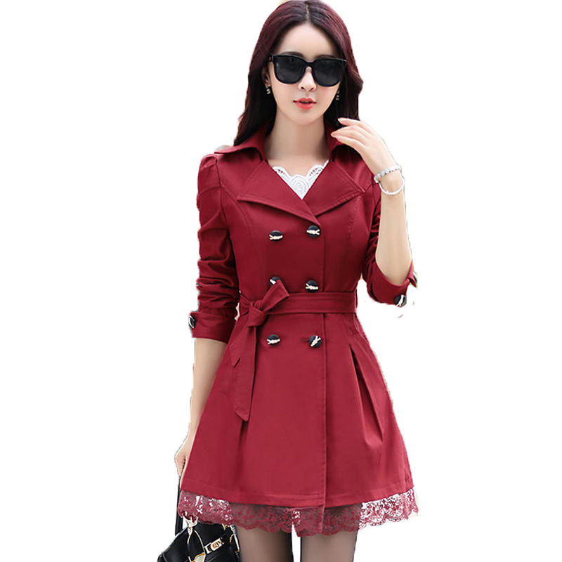 MOON BUNNY Women Trench Coat 2015 Korean Plus Size Lace Slim Double-Breasted Trench Coats Women Winter Outwear Clothing 7 colors