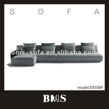 Light blue fabric striped sofa