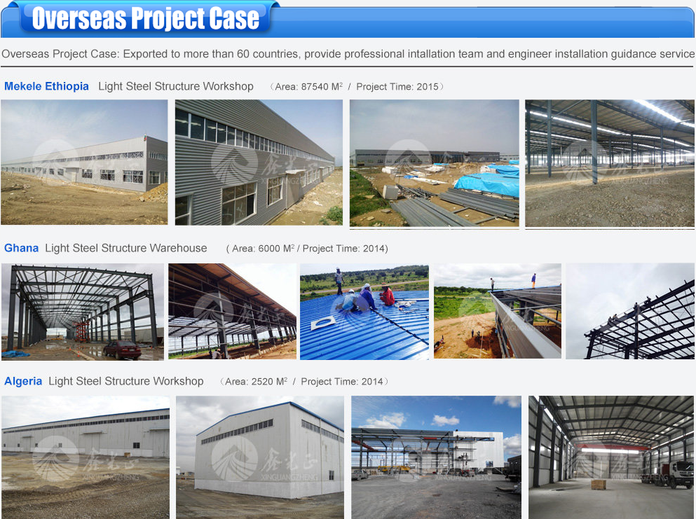 export afrian steel structure warehouse building